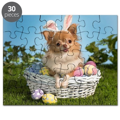 chihuahua long hair easter Puzzle