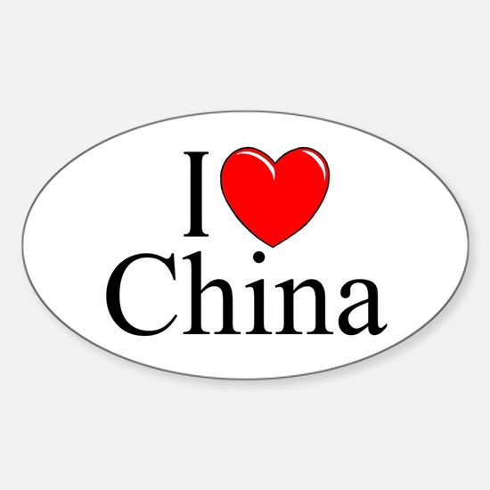 """I Love China"" Oval Decal"