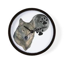 wild night wolf Wall Clock