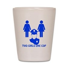 2 girls one cop_dark Shot Glass