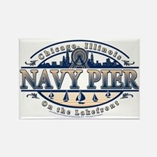 Navy-Pier-Oval-2-color Rectangle Magnet