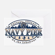 Navy-Pier-Oval-2-color Greeting Card