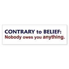 Nobody Owes You Anything Bumper Car Sticker