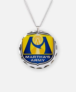 Marthas Army - Blue  Yellow Necklace Circle Charm