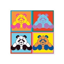 "Pop Art Panda Square Sticker 3"" x 3"""