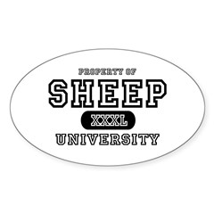 Sheep University Oval Decal