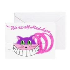 Cheshire Cat Were all Mad Greeting Card