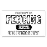 Fencing University Rectangle Sticker