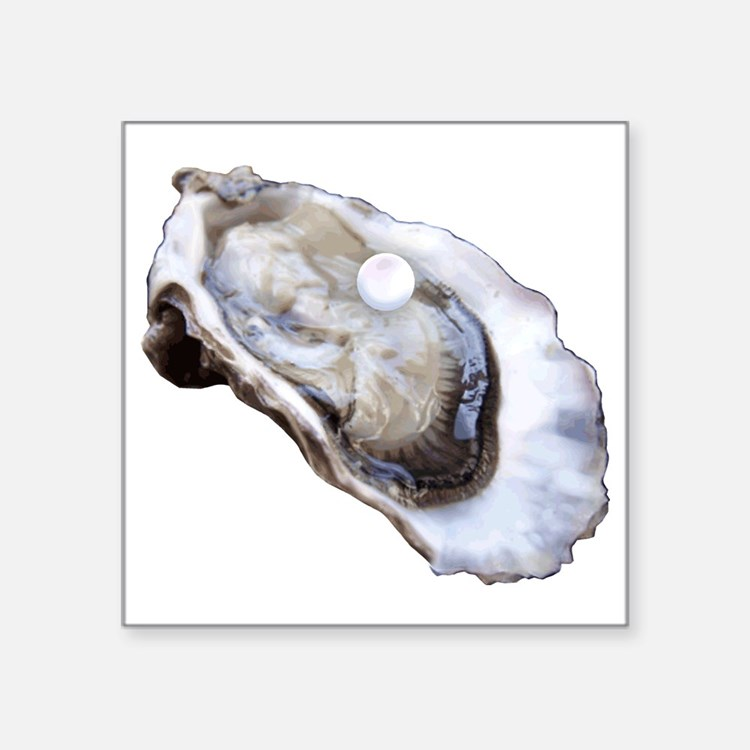 "oyster with pearl Square Sticker 3"" x 3"""