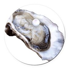 oyster with pearl Round Car Magnet