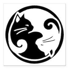 "yin-yang-cats Square Car Magnet 3"" x 3"""