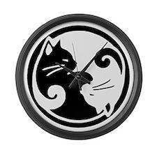 yin-yang-cats Large Wall Clock