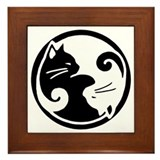 Yin yang cats Framed Tiles
