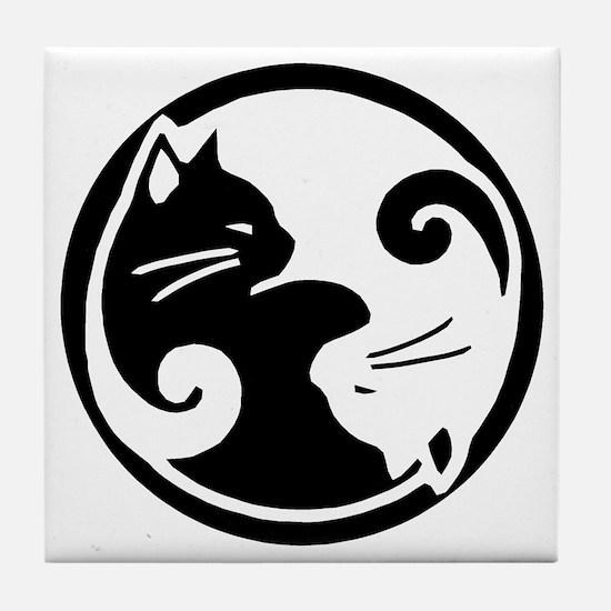 yin-yang-cats Tile Coaster