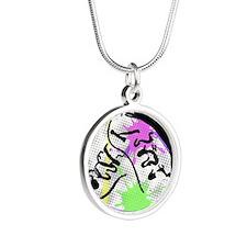grunge irish dance Silver Round Necklace