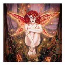 "Ember-The Fire Sprite Square Car Magnet 3"" x 3"""