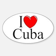 """I Love Cuba"" Oval Decal"