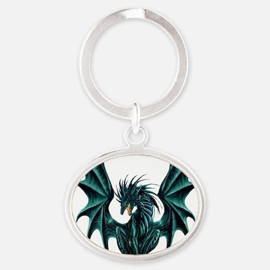 Jade Dragon Oval Keychain