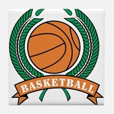 Basketball Round Emblem Tile Coaster