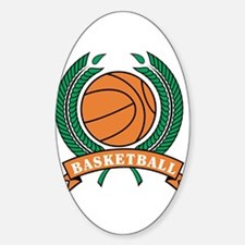 Basketball Round Emblem Oval Decal