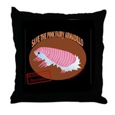 Save the Pink Fairy Armadillo Throw Pillow