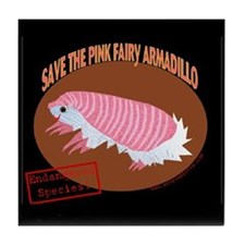 Save the Pink Fairy Armadillo Tile Coaster