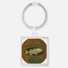 Gone Fishing Square Keychain