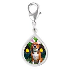 Easter Beagle16x16 Silver Teardrop Charm