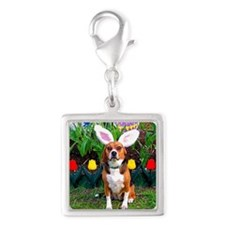 Easter Beagle16x16 Silver Square Charm