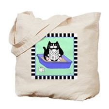 T_tux-litterbox-aqua Tote Bag