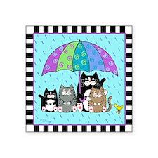 """2-T_4cats-umbrella-duck Square Sticker 3"""" x 3"""""""