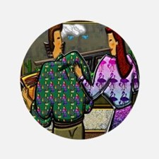 "Couple with Hold Plaque Square 12x12 3.5"" Button"