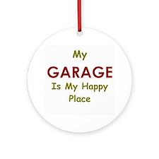 Garage black Round Ornament