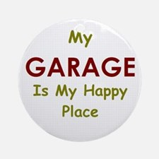 Garage black Round Ornament