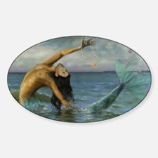 Merman_Birthday_Gift Sticker (Oval)