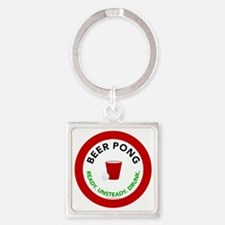 btn-beerpong-ready Square Keychain