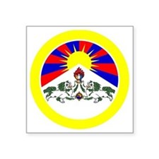 "btn-flag-tibet Square Sticker 3"" x 3"""