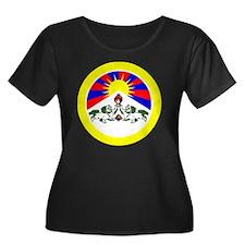 btn-flag Women's Plus Size Dark Scoop Neck T-Shirt