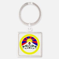 btn-flag-tibet Square Keychain