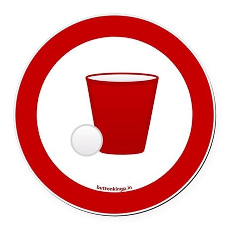 btn-red-cup Round Car Magnet