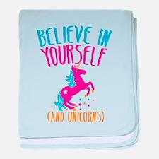 Believe in yourself (and UNICORNS) baby blanket