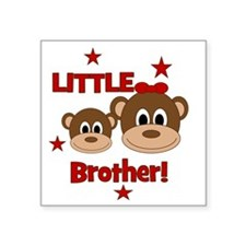 "Monkey_LittleBrother_girl Square Sticker 3"" x 3"""