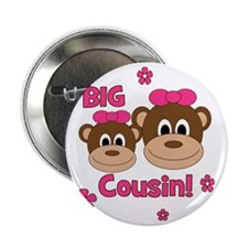 "Monkey_Girl_BigCousin_girl 2.25"" Button"