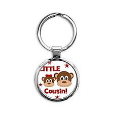 Monkey_LittleCousin_girl Round Keychain