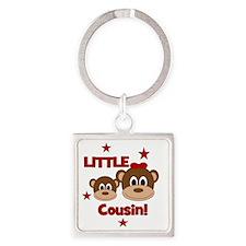 2-Monkey_LittleCousin_girl Square Keychain