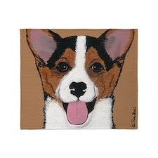 Tri Welsh Corgi Puppy Throw Blanket