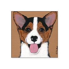 "Tri Welsh Corgi Puppy Square Sticker 3"" x 3"""