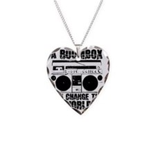 boombox Necklace Heart Charm