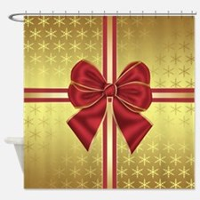 Gold Effect Holiday Package Shower Curtain