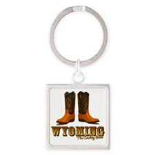 Wyoming: The Cowboy State Square Keychain
